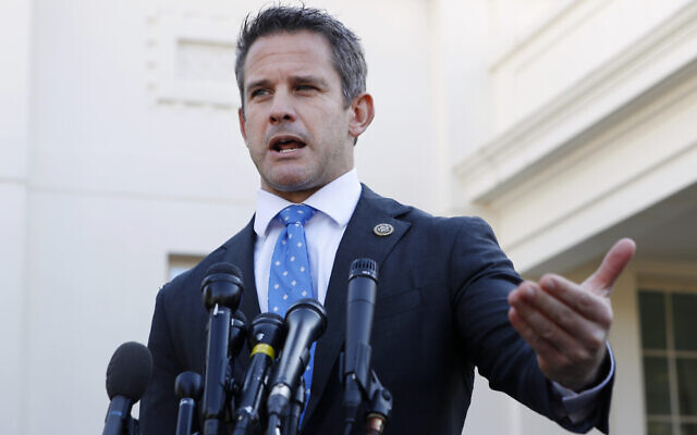 Republican Representative Adam Kinzinger of Illinois speaks to the media at the White House in Washington, March 6, 2019. (AP Photo/Jacquelyn Martin)