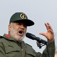 Chief of Iran's Revolutionary Guard Gen. Hossein Salami speaks at a pro-government rally in Tehran, Iran, November 25, 2019. (Ebrahim Noroozi/AP)
