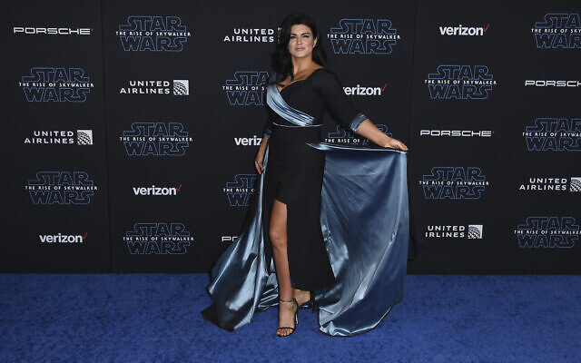 """Gina Carano arrives at the world premiere of """"Star Wars: The Rise of Skywalker"""" on Monday, Dec. 16, 2019, in Los Angeles (Jordan Strauss/Invision/AP)"""