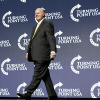 Radio personality Rush Limbaugh takes the stage to introduce US President Donald Trump at the Turning Point USA Student Action Summit at the Palm Beach County Convention Center in West Palm Beach, Flaorida, December 21, 2019. (AP Photo/Andrew Harnik)