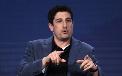 Actor Jason Biggs takes part in a panel discussion during the 2020 FOX Television Critics Association Winter Press Tour, in Pasadena, California, January 7, 2020. (Chris Pizzello/AP)