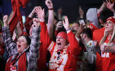 Illustrative -- Kansas City Chiefs fans celebrate the team's Super Bowl victory in Kansas City, Missouri, Feb. 2, 2020. (AP Photo/Orlin Wagner)