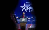 President Donald Trump speaks during Conservative Political Action Conference, CPAC 2020, at the National Harbor, in Oxon Hill, Md., Saturday, Feb. 29, 2020. (AP Photo/Jose Luis Magana)