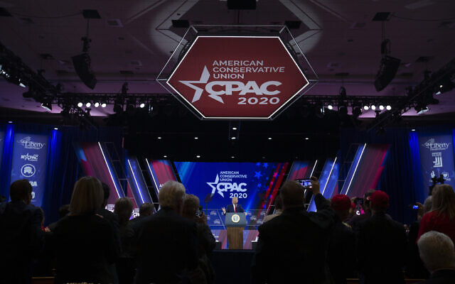 Illustrative: President Donald Trump speaks during Conservative Political Action Conference, CPAC 2020, at the National Harbor, in Oxon Hill, Md., Saturday, Feb. 29, 2020. (AP Photo/Jose Luis Magana)