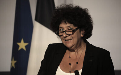 French Minister of Higher Education Frederique Vidal delivers a speech after the weekly cabinet meeting at the Elysee Palace in Paris, July 22, 2020. (AP Photo/Christophe Ena, Pool)