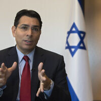 Israel's then ambassador to the United Nations Danny Danon speaks during an interview with The Associated Press in the central Israeli city of Ra'anana, July 28, 2020. (Sebastian Scheiner/AP)
