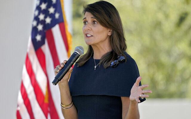 Former US Ambassador to the UN Nikki Haley speaks while campaigning for US Sen. Martha McSally, R-Ariz., Monday, Oct. 12, 2020, in Scottsdale, Ariz. (AP Photo/Matt York)
