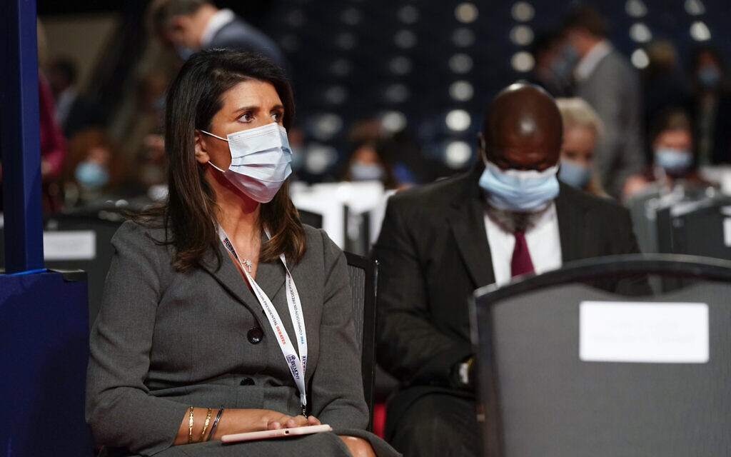 Former US Ambassador to the UN Nikki Haley takes her seat before the start of a US presidential debate, October 22, 2020, at Belmont University in Nashville, Tennessee. (AP Photo/Patrick Semansky)