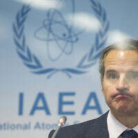 Director General of the International Atomic Energy Agency, Rafael Mariano Grossi, attends a press conference during an IAEA Board of Governors meeting at the IAEA headquarters of the UN in Vienna, Austria, November 18, 2020. (Christian Bruna/Pool Photo via AP)