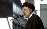 Ebrahim Raisi, Head of Iran's Judiciary, speaks during a ceremony on the occasion of first anniversary of death of late Iranian Revolutionary Guards Corps (IRGC) general Qassem Soleimani, in Tehran, Iran, January 1, 2021. (AP Photo/Ebrahim Noroozi)