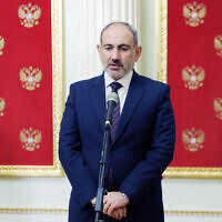 Armenian Prime Minister Nikol Pashinyan speaks to media after his talks with Russian President Vladimir Putin and Azerbaijan's President Ilham Aliyev at the Kremlin in Moscow, Russia, Monday, Jan. 11, 2021. (Mikhail Klimentyev, Sputnik, Kremlin Pool Photo via AP)