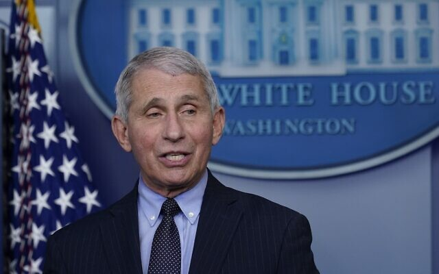 Dr. Anthony Fauci, director of the National Institute of Allergy and Infectious Diseases, speaks with reporters in the James Brady Press Briefing Room at the White House, January 21, 2021, in Washington. (AP Photo/Alex Brandon)
