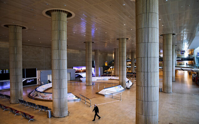 Ben Gurion Airport stands nearly empty, Jan. 26, 2021. (AP Photo/Oded Balilty)