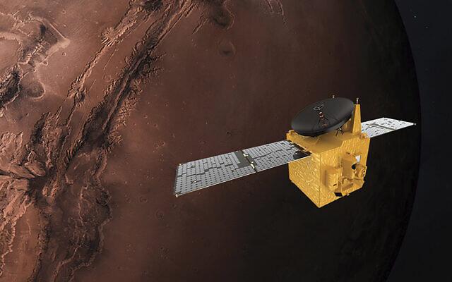 Illustration provided by Mohammed Bin Rashid Space Centre depicts the United Arab Emirates' Hope Mars probe, June 1, 2020. (Alexander McNabb/MBRSC via AP)