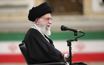 Supreme Leader Ayatollah Ali Khamenei speaks during a meeting with army's air force and air defense staff in Tehran, Iran, February 7, 2021 (Official Website of the Office of the Iranian Supreme Leader via AP)