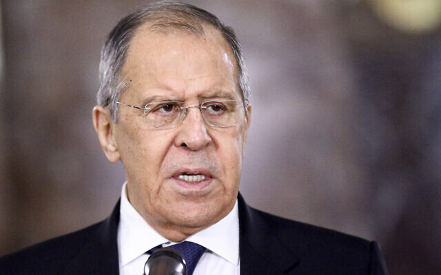 Russian Foreign Minister Sergey Lavrov speaks during a meeting in Moscow, Russia, Wednesday, Feb. 10, 2021 (Russian Foreign Ministry Press Service via AP)