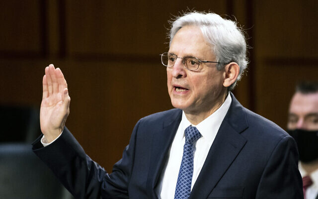 Judge Merrick Garland, nominee to be Attorney General, is sworn in at his confirmation hearing before the Senate Judiciary Committee, Monday, Feb. 22, 2021 on Capitol Hill in Washington. (Bill Clark/Pool via AP)