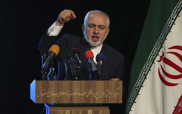 Iran's Foreign Minister Mohammad Javad Zarif addresses in a conference in Tehran Iran Tuesday Feb. 23 2021