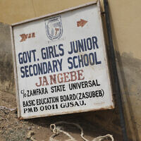 The sign post of Government Girls Junior Secondary School in Jangebe, following an attack by gunmen in Jangebe, Nigeria on Feb. 25, 2021. (AP/ Ibrahim Mansur)