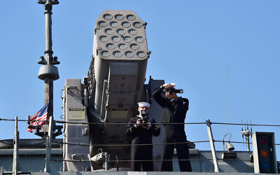 Illustrative: US crew members, standing in front of the RIM-116 Rolling Airframe Missile (RAM) launcher on the deck of the USS Fort Worth (LCS 3) in the southeastern port city of Busan, March 14, 2015. (Jung Yeon-je/AP)