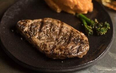 A rib-eye steak produced from meat cells cultivated in a laboratory by Israeli start-up Aleph Farms. (Courtesy: Aleph Farms/Technion Institute of Technology)