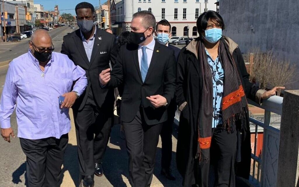 Israel's Ambassador to the US Gilad Erdan (center) at the Edmund Pettus Bridge in Selma, Alabama with leaders of the African American community there; February 22, 2021. (Israeli Embassy in Washington)