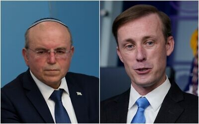 Israeli National Security Council chairman Meir Ben-Shabbat (right), and US National Security Advisor Jake Sullivan. (Flash90, AP)