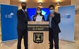 (L-R) New Hope candidates MK Tzvi Hauser, MK Yifat Shasha-Biton and Jerusalem council member Ofer Berkovitch present the party's slate for the March 2021 election to the Central Elections Committee, February 3, 2021. (New Hope)