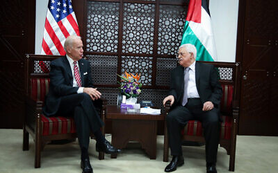 Then-US vice president Joe Biden meets with Palestinian Authority President Mahmoud Abbas, in the West Bank city of Ramallah, on March 9, 2016. (FLASH90).