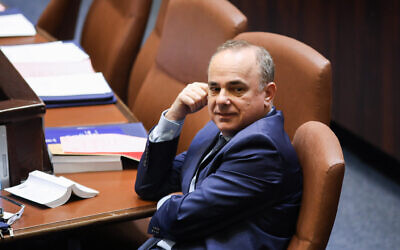 Israeli Minister of Energy Yuval Steinitz during a discussion on a bill to dissolve the parliament, at the Knesset, in Jerusalem on May 29, 2019. (Hadas Parush/Flash90)