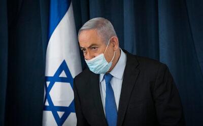 File: Prime Minister Benjamin Netanyahu at a cabinet meeting in Jerusalem on June 28, 2020 (Olivier Fitoussi/Flash90)