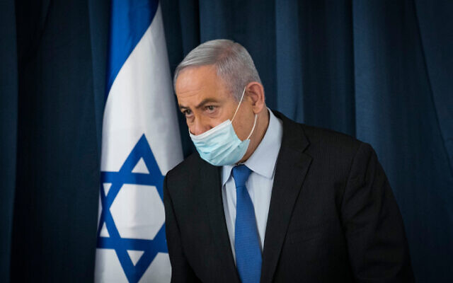 File: Prime Minister Benjamin Netanyahu at a cabinet meeting in Jerusalem on June 28, 2020 (Olivier Fitoussi/Flash90)