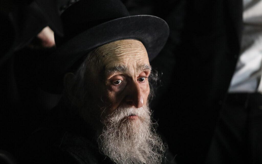 Rabbi Meshulam Dovid Soloveitchik attends an event in Jerusalem on August 10, 2020. (Yonatan Sindel/Flash90)