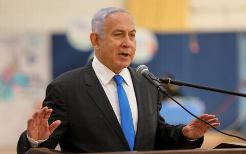 Prime Minister Benjamin Netanyahu gives a press conference in Sderot, southern Israel, January 27, 2021. (Liron Moldovan/POOL)