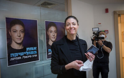 Labor party leader Merav Michaeli speaks to press after casting her vote in the Labour primaries,  in Tel Aviv on February 01, 2021. (Miriam Alster/Flash90 )