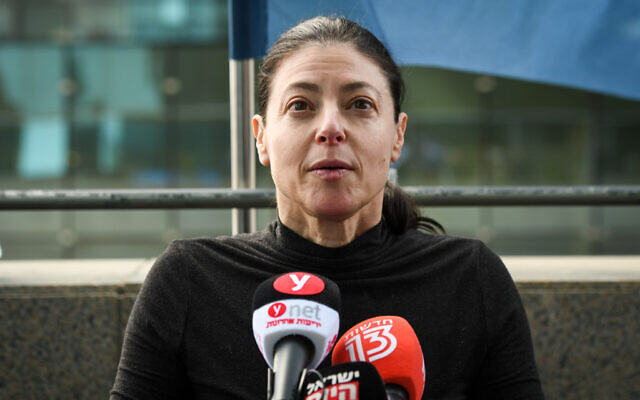 Labor party leader Merav Michaeli seen during a first meeting of the Labor party with new elected members in Tel Aviv on February 2, 2021. (Avshalom Sassoni/Flash90)