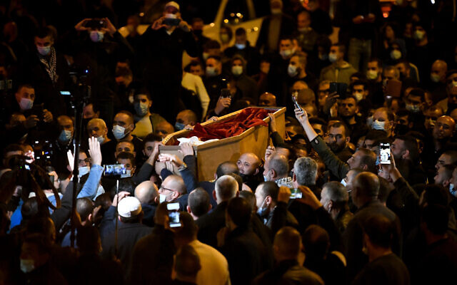 Thousands attend the funeral of 22-year-old nursing student Ahmad Hijazi near the Arab city of Tamra, northern Israel, February 2, 2021 (Sraya Diamant/Flash90