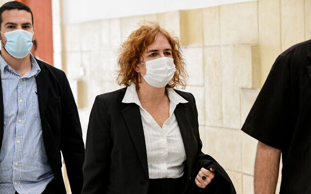 Prosecutor Liat Ben-Ari arrives at the District Court in Jerusalem, February 8, 2021. (Reuven Castro/Pool)