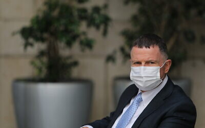 Health Minister Yuli Edelstein at a press conference in Jerusalem on February 10, 2021. (Yonatan Sindel/Flash90)