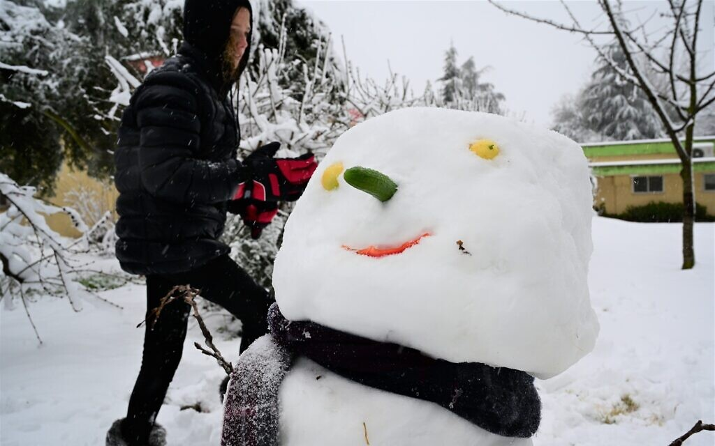 A snowman in the Golan Heights, northern Israel, February 18, 2021 (Michael Giladi/ Flash 90)