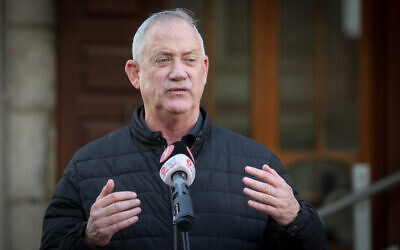 Defense Minister Benny Gantz during a visit to the Druze village of Julis in northern Israel, February 23, 2021 (David Cohen/Flash90)