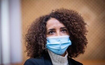Labor Party member Ibtisam Mara'ana at a Supreme Court hearing in Jerusalem on February 24, 2021. (Yonatan Sindel/Flash90)