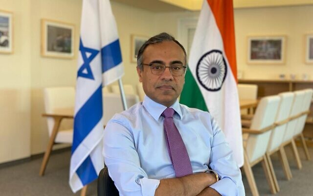 India's Ambassador to Israel Sanjeev Singla, February 2021 (Embassy of India)