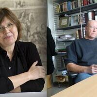 Holocaust scholars Barbara Engelking, left, and Jan Grabowski, right. (Yad Vashem via AP / courtesy)