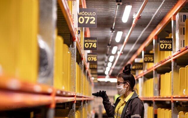 A view inside a Mercado Libre warehouse. (Courtesy of Mercado Libre via JTA)