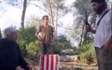 Israeli settlers harass an Arab Israeli family having a picnic outside the village of Jibya in the West Bank on February 6, 2020. (Screen capture/YouTube)