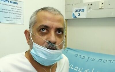 Yair Tayeb, a patient who recovered from COVID-19 at Jerusalem's Hadassah Ein Kerem Hospital, February 9, 2021 (Channel 13 screenshot)