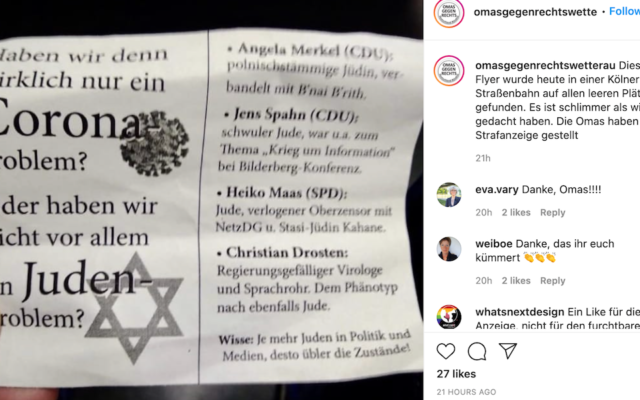 A post with a photo of an anti-Semitic flyer found on a tram in Cologne, Germany, blaming Jews for the COVID-19 pandemic, February 10, 2021. (Grandmothers Against The Right/Instagram via JTA)