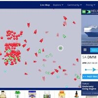 The Helios Ray, which was sailing from Saudi Arabia to Singapore, shown (in a white circle, center-right) on the Marine Traffic website's live shipping tracker soon after it was hit in the Gulf of Oman, February 26, 2021 (MarineTraffic.com screenshot)