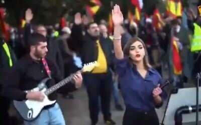 A neo-Nazi rally held at La Almudena cemetery in Madrid, Spain, February 1, 2021. (Screen capture/ YouTube)